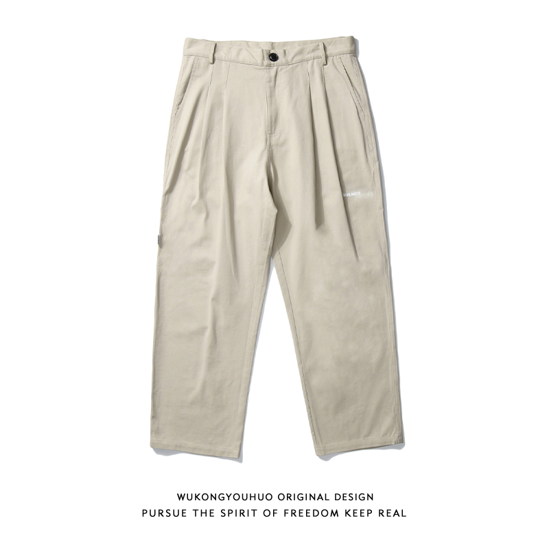 Wukong has stock Japanese Ami khaki overalls men's trendy brand loose printed straight drape wide-leg casual trousers