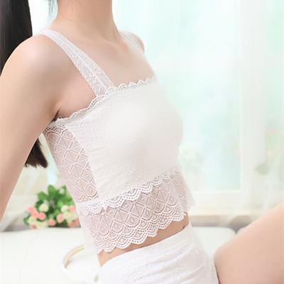 夏秋蕾丝带胸垫抹胸裹胸防走光打底吊带横胸性感小背心中长款内衣