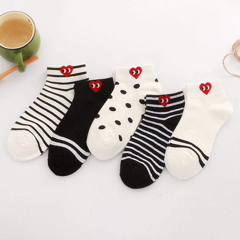 限时2件3折船袜两杠爱心字母数字卡通日系袜子女纯棉袜短袜女低帮浅口短筒袜