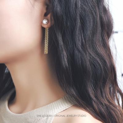 花宿手作 优雅气质天然淡水珍珠s925纯银 法式流苏耳环长款超仙