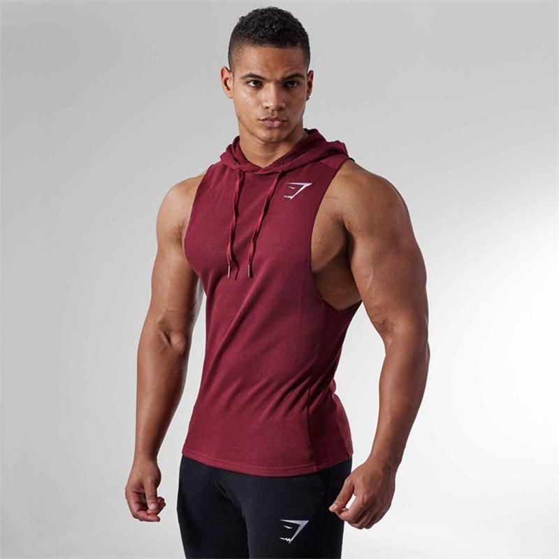 Cơ bắp Shark Thể Thao Đào Tạo Workout Nam Anh Em Trùm Đầu Hoodie Sweater Vest Top Chạy