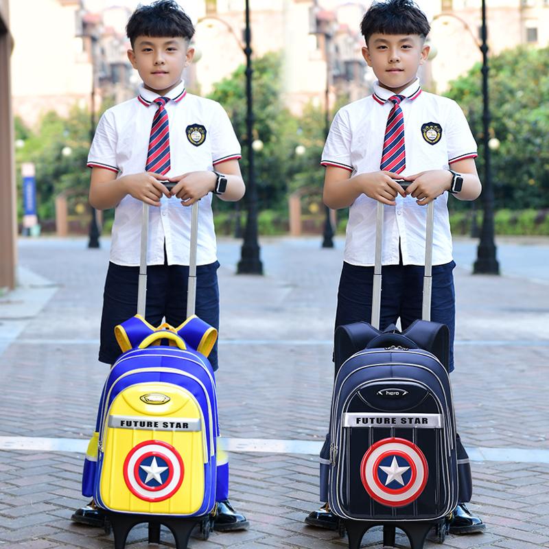 小学生拉杆书包儿童双肩包1-3-5年级男孩6-12周岁可拆卸防水三轮4
