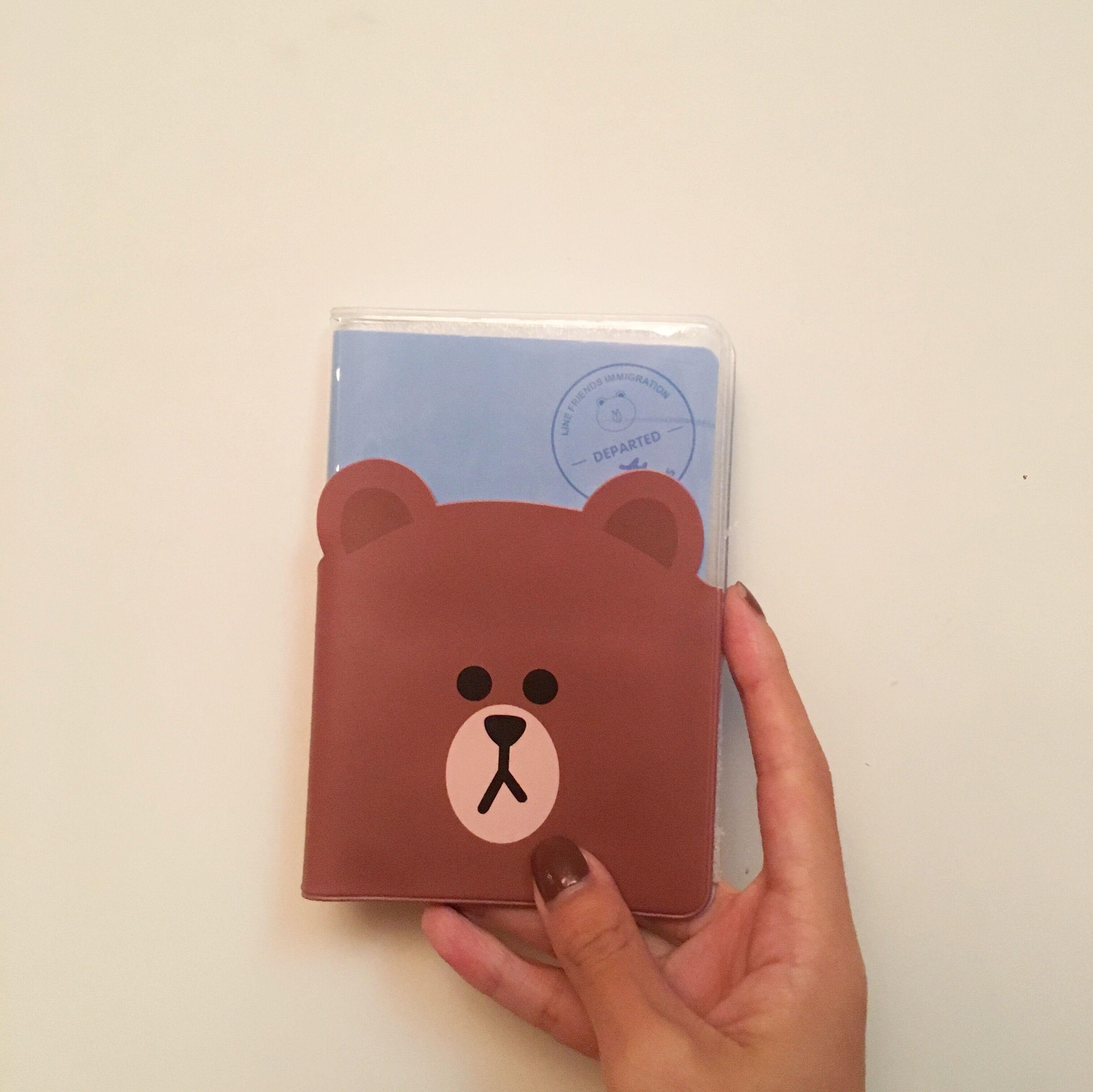 Hongren cô gái tùy chỉnh Hàn Quốc dòng gấu Nâu dễ thương tài liệu giữ hộ chiếu bộ giới hạn thời gian tại chỗ khuyến mãi
