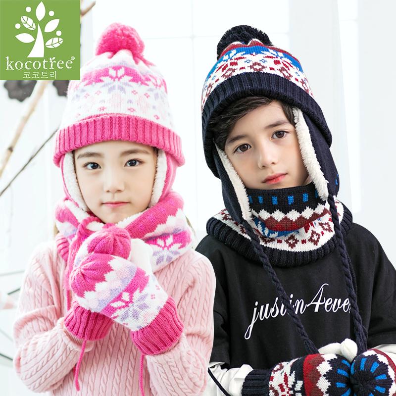 KK树儿童帽子围巾套装冬男童女童帽子围巾手套三件套一体宝宝秋冬