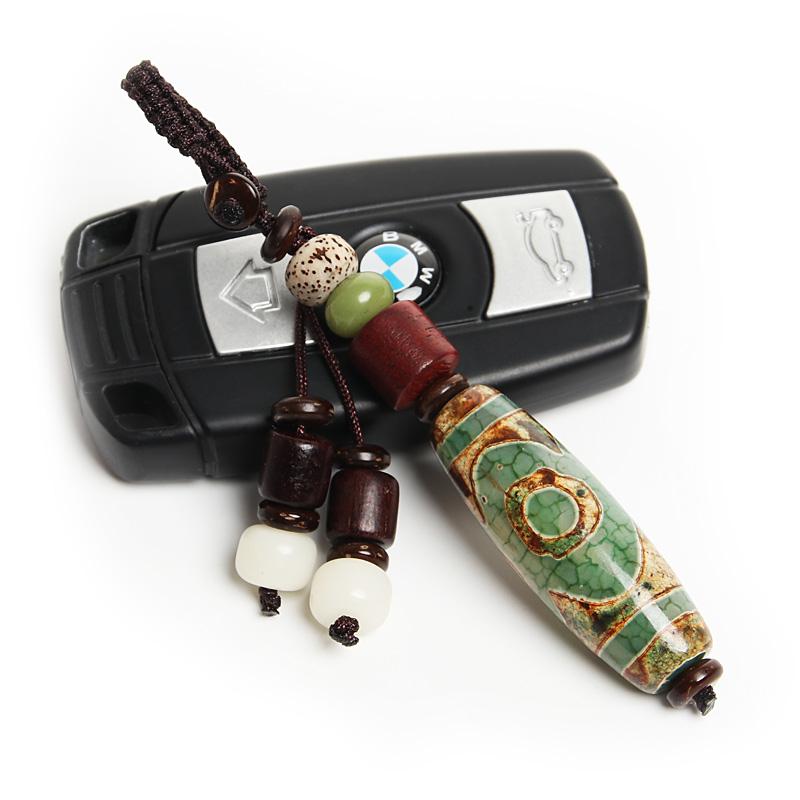 创意玛瑙天珠汽车钥匙挂件时尚男女生腰扣菩提情侣链礼品吊坠辟邪