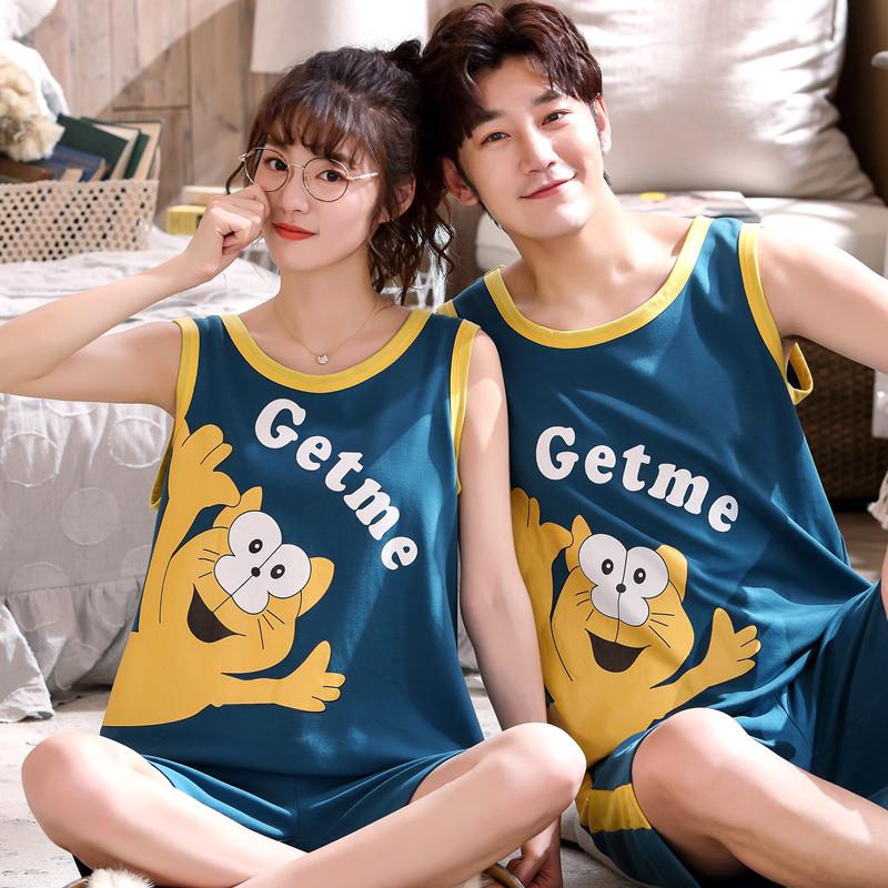 情侣睡衣夏季纯棉薄款韩版背心两件套装无袖短裤男女士短袖家居服