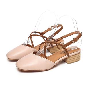 夏季方头粗跟复古交叉凉鞋女