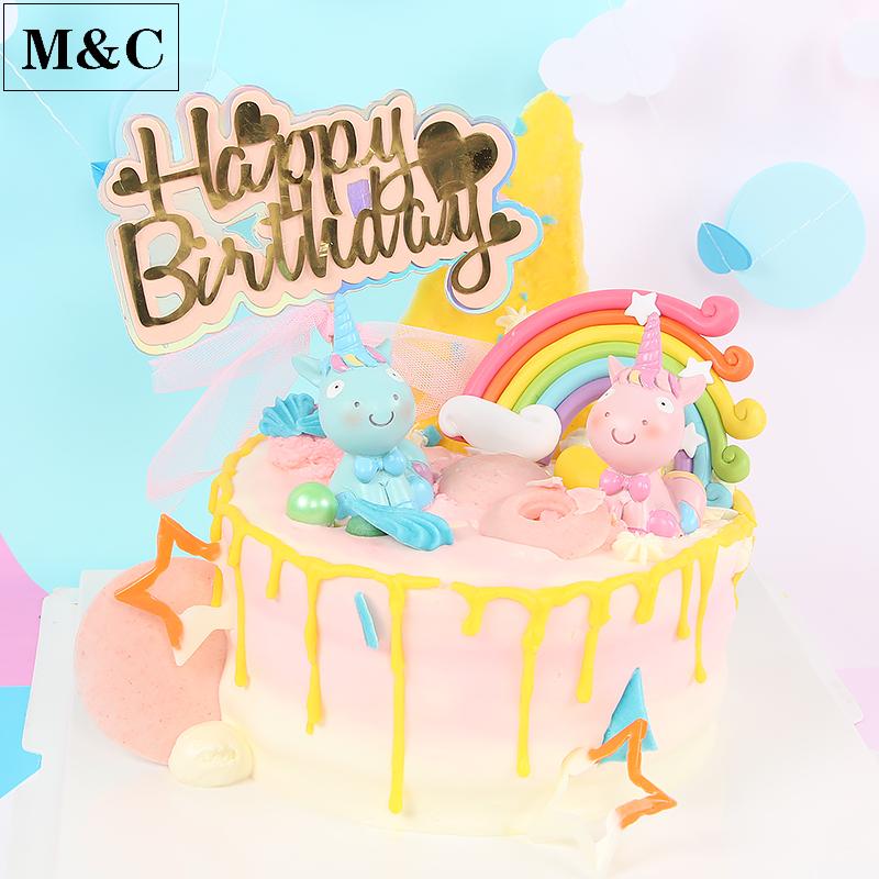 独角兽蛋糕装饰 粉蓝坐姿独角马蛋糕装饰 大彩虹甜品台蛋糕插旗