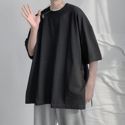 夏季潮牌短袖男装宽松时尚潮流半袖上衣韩版港风休闲五分袖T恤男