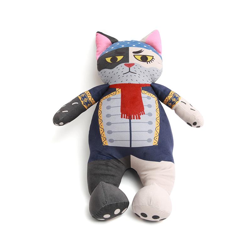 可爱海盗猫抱枕玩偶公仔,创意猫咪竹炭包摆件