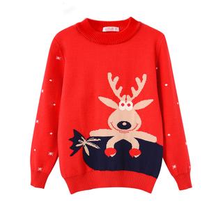 2018童装新款秋冬女童双层加厚毛衣儿童套头宝宝针织衫圣诞打底衫