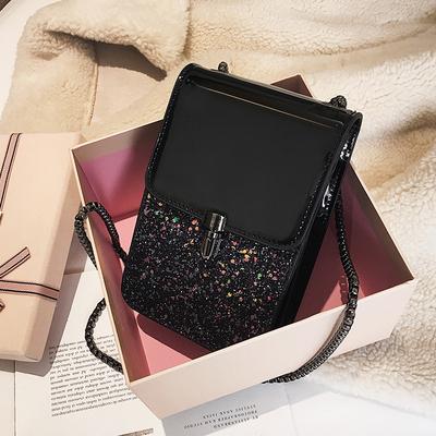 小包包女新款漆皮时尚亮片单肩斜挎包chic链条百搭手机包