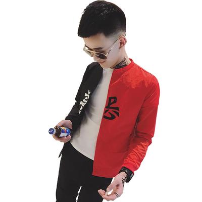 Màu đỏ và màu đen hai tông áo của nam giới thủy triều tốt và ác thêu một nửa của quần áo trên một mặt của màu đen bên màu đỏ mỏng phần mặt trời quần áo bảo hộ