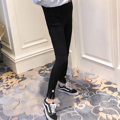 周小姐孕妇装春装新款纯棉打底裤怀孕期潮妈托腹裤高腰长裤子