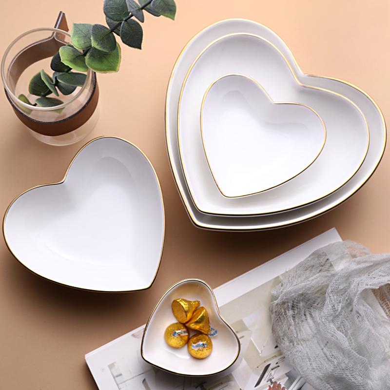 Cặp vợ chồng sáng tạo bát hình trái tim của Phnom Penh gốm salad trái cây bát đơn giản tình yêu màu trắng bát đồ ăn gia đình bát tráng miệng - Đồ ăn tối
