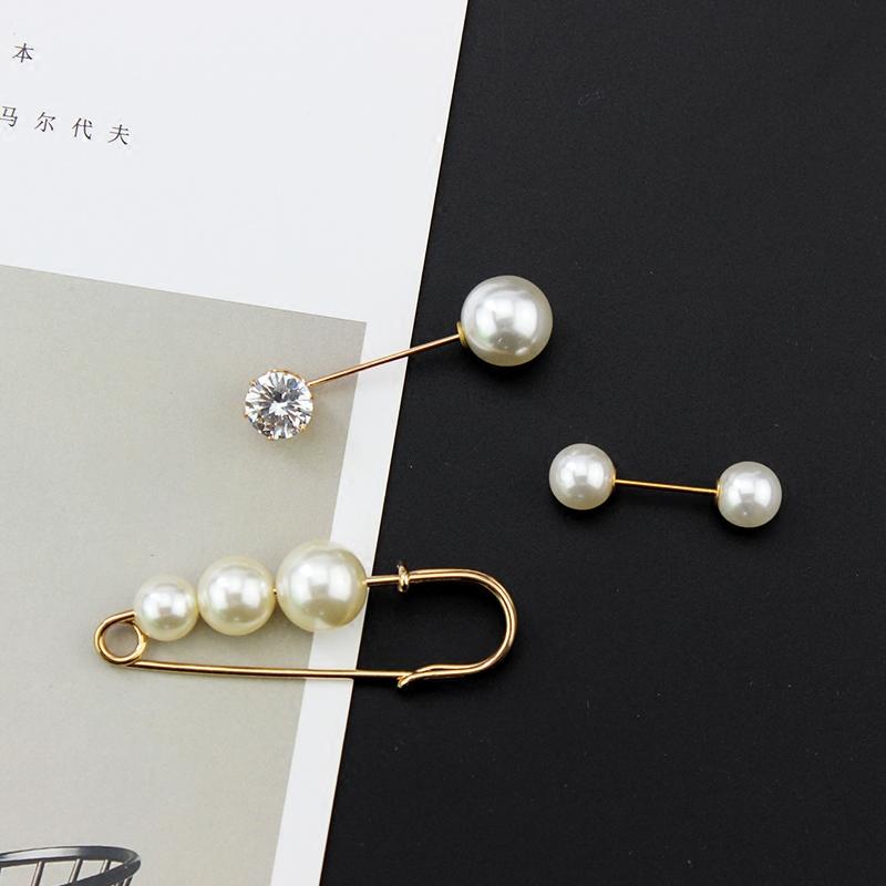 韩国时尚珍珠防走光胸针一字插针开衫小别针扣毛衣外套装配饰品女