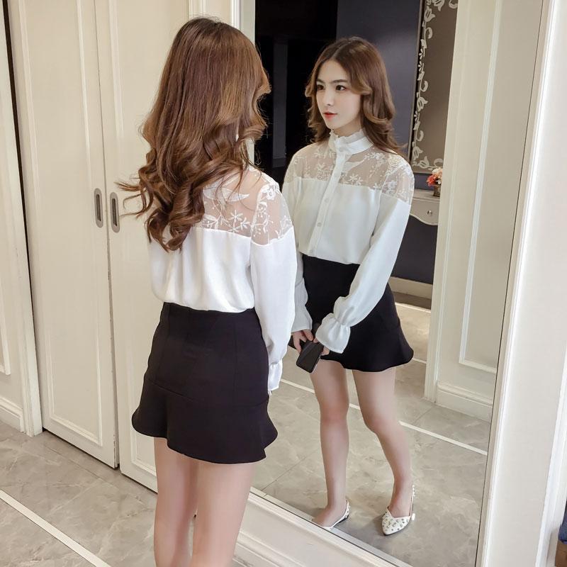 2018春韩版甜美花边提花雪纺衫蕾丝透视装百搭长袖两件套上衣女仙