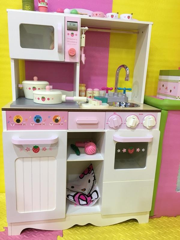 Kiểu phương tây lắp ráp nhà bếp lớn nhà gỗ mô phỏng đồ chơi trẻ em bếp nấu ăn mẫu giáo đồ chơi