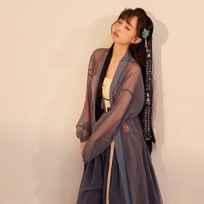 【十三余 小豆蔻儿】[墨者]  双层拼接褙子纯色宋抹系带下裙汉服