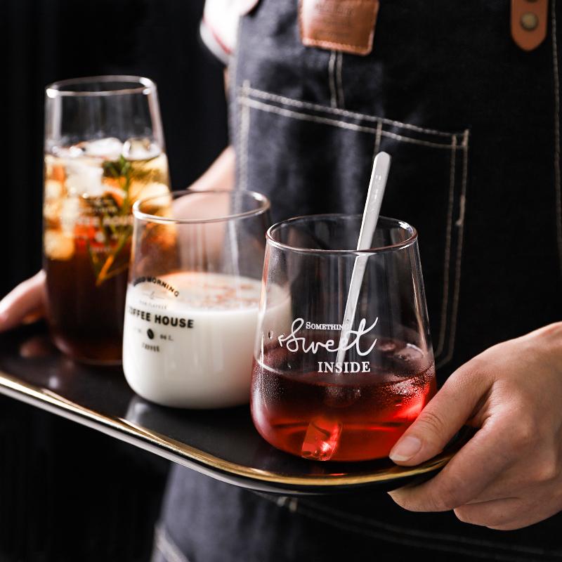 抖音同款:简约玻璃杯 家用大肚杯-1