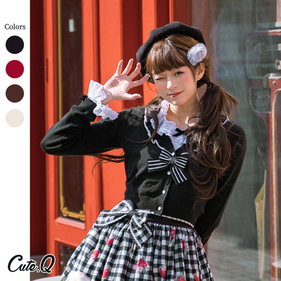 taobao agent 【Spot goods】Vivienne long-sleeved knit air-conditioning cardigan striped bow CuteQ original lolita
