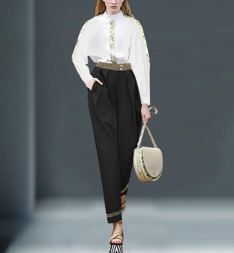 白长袖+黑色裤子