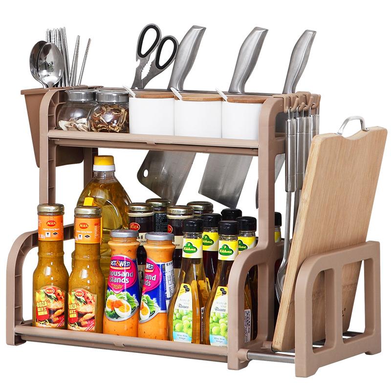 廚房置物架調料架廚具塑料用品用具收納臺面儲物架多層砧板架子