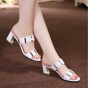 韩版时尚中跟凉拖鞋女夏外穿
