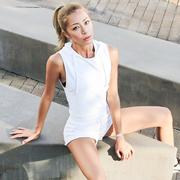La Nikar vest thể thao nữ tập thể dục vest áo len ngắn trùm đầu áo thun chạy đào tạo áo sơ mi