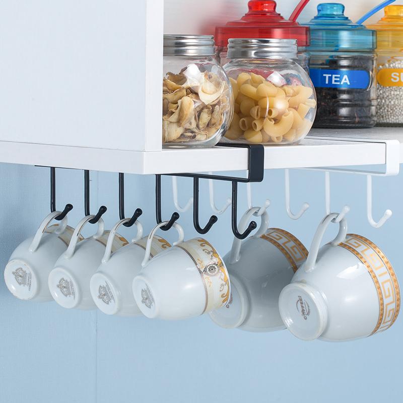 橱柜下挂架多功能置物架厨房用品吊柜排钩隔板收纳架无痕免钉挂钩