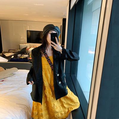 张贝贝ibell新款网红百搭宽松西装外套女复古港风设计感小众