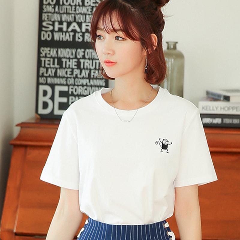 夏装2017新款白色短袖T恤女宽松棉质卡通绣花上衣半袖打底衫体恤