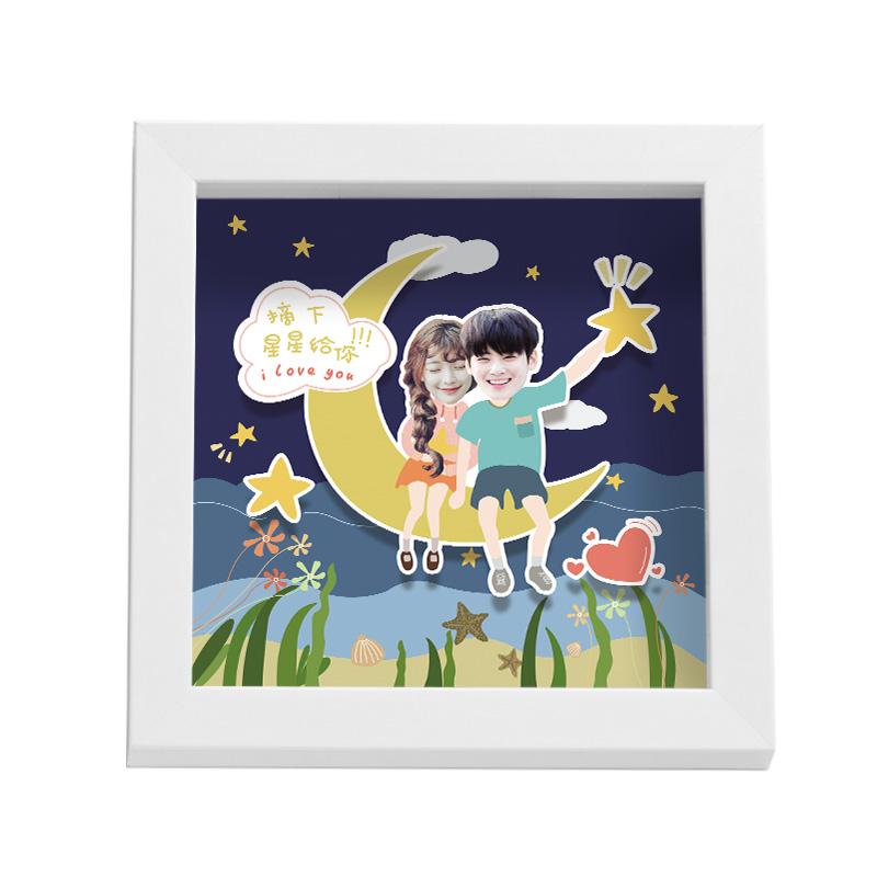 spedearQ版卡通立体相框,情侣定制生日礼物