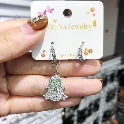 2件 日韩新款少女甜美个性时尚满钻卡通小鸟冰激凌椰树耳环