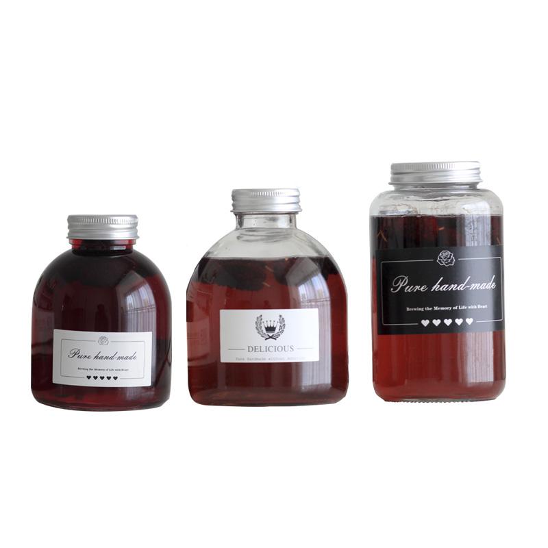 荔枝桂花泡酒瓶桑葚樱桃荔枝玻璃酒瓶网红饮料瓶果汁奶茶瓶500ML_图5