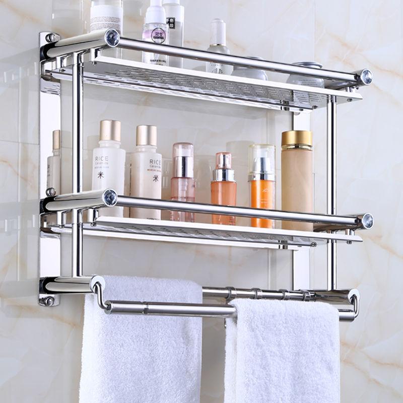 加厚毛巾架不锈钢浴室卫生间置物架壁挂免打孔厕所浴巾架卫浴挂件