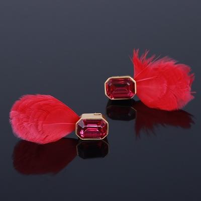 美国设计师大牌气质超仙红色羽毛闪耀宝石镶嵌优雅时尚耳环耳饰