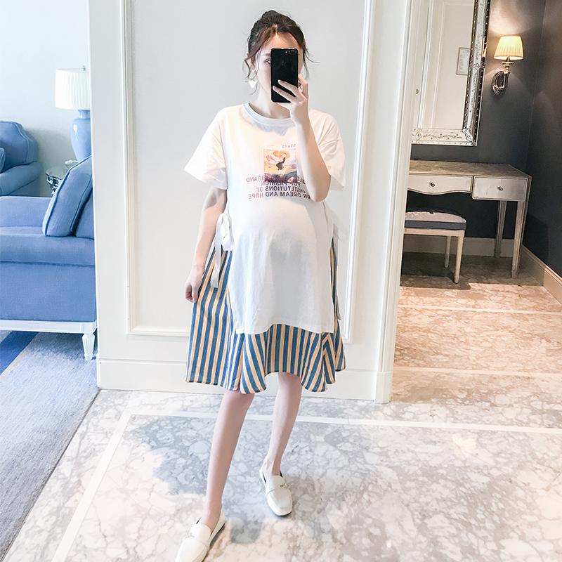 孕妇夏装连衣裙新款孕妇装夏装中长款时假两件尚短袖T恤裙子