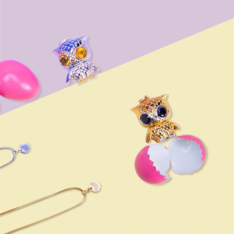 CASSIEVONG/诗无 猫头鹰项链 黄凯茜设计 原创轻奢珐琅工艺毛衣链