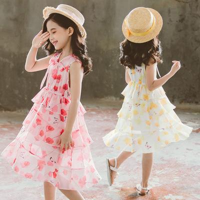 女童连衣裙夏装新款中大童超洋气儿童雪纺碎花公主裙网红裙子