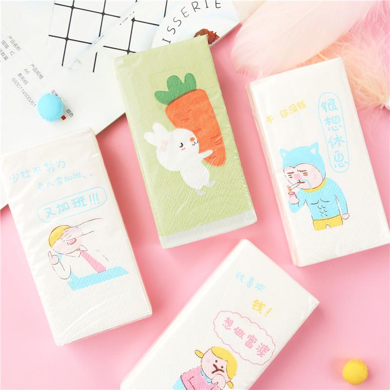 创意卡通印花手帕纸随身便携式纸巾面巾纸可爱少女心餐巾纸卫生纸