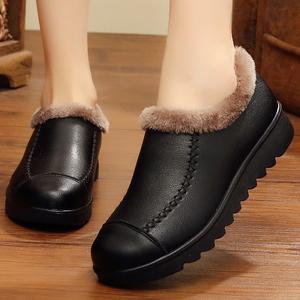 6保暖中老年妈妈女鞋老太太棉鞋加绒老人皮鞋冬鞋女防滑奶奶鞋