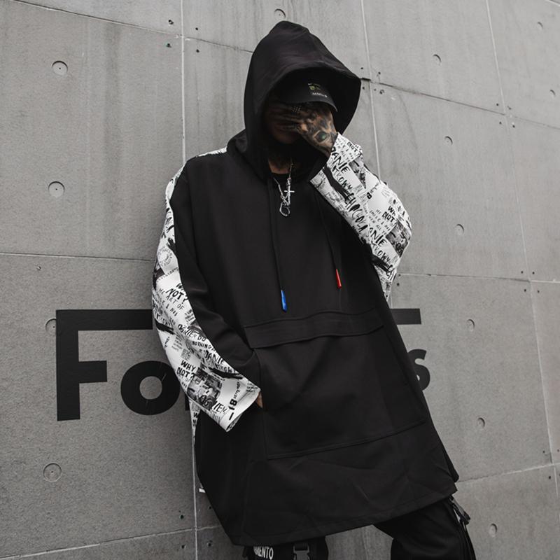 2019春夏男嘻哈国潮连帽印花发型师宽松街头长袖T恤 CT664 P95