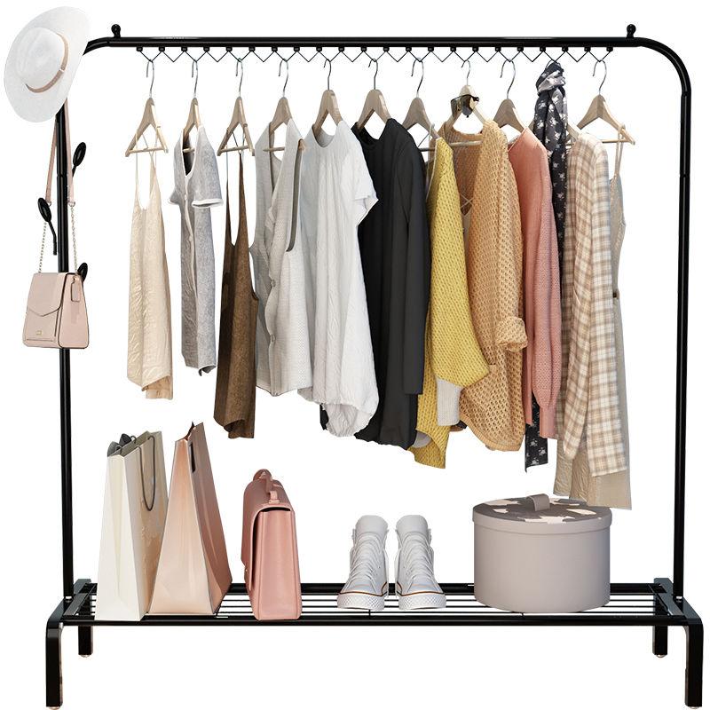 新款衣架落地卧室挂衣架单双杆衣帽架