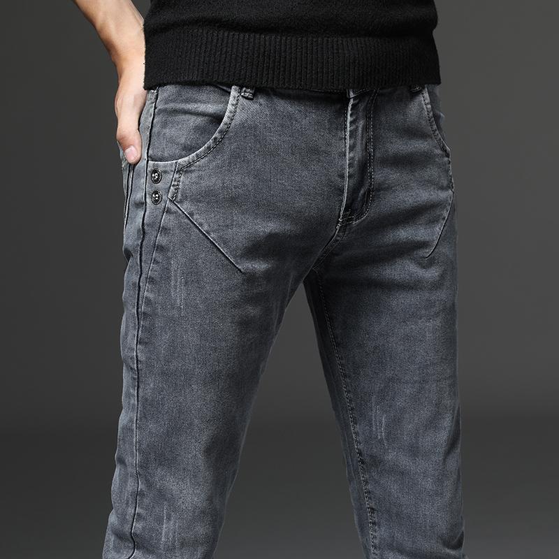 2021新款烟灰色牛仔裤男春秋男士弹力韩版修身小脚裤斜插口袋裤子