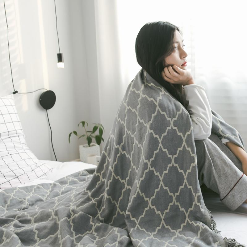 竹纤维盖毯夏季空调午睡单人毛毯沙发盖被手工流苏办公休闲毯子
