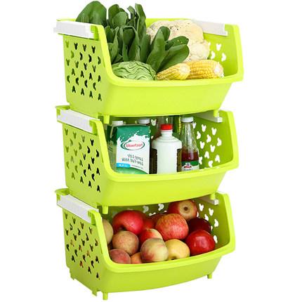 【前500套仅39元】三层特大号果蔬篮可叠加收纳筐厨房塑料置物架