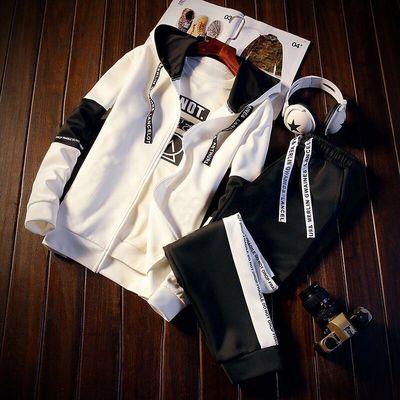 男士卫衣套装运动服连帽外套夹克两件套衣服潮牌韩版潮流学生修身
