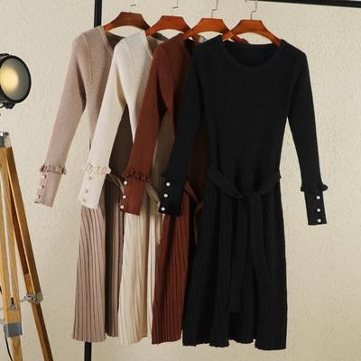年流行春秋装新款长裙子毛衣女装圆领长款过膝针织打底连衣裙