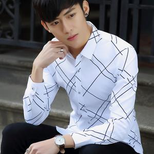 秋冬新款男士衬衫 韩版型男格子长袖衬衣商务休闲长袖衬衫男906#